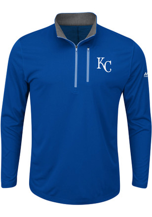 Majestic KC Royals Mens Blue Six Four Three 1/4 Zip Performance Pullover