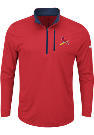 Majestic STL Cardinals Mens Red Six Four Three 1/4 Zip Performance Pullover