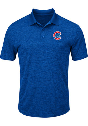 Majestic Chicago Cubs Mens Blue Hit First Short Sleeve Polo Shirt
