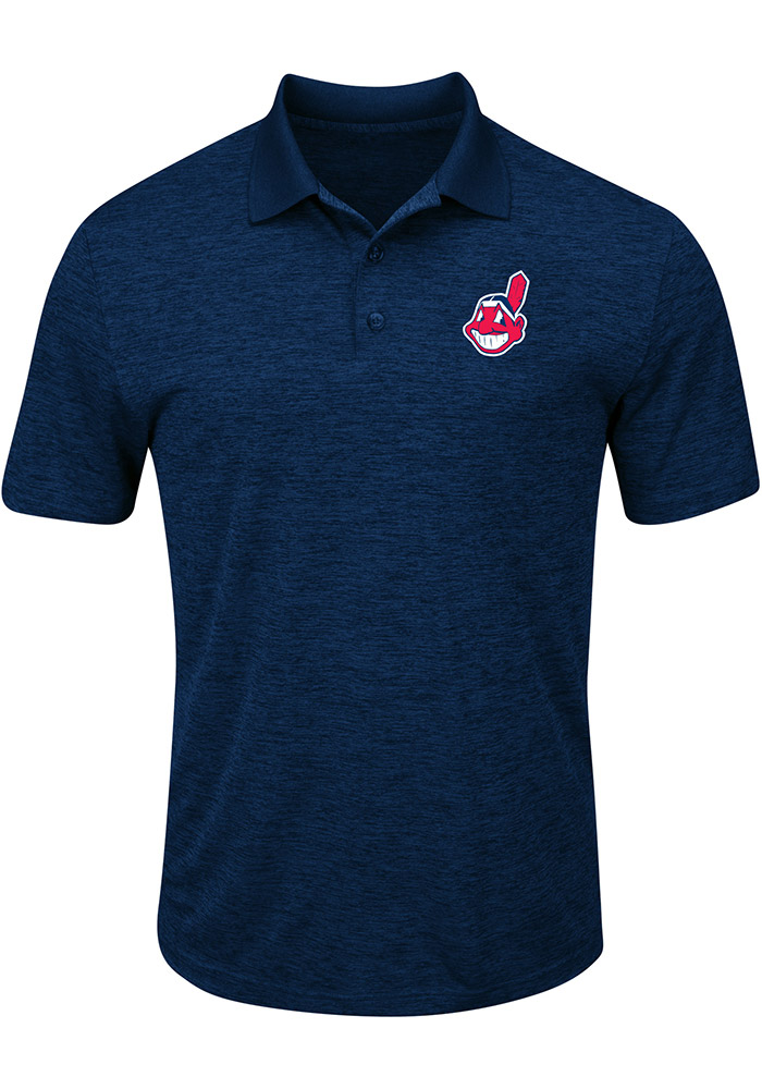a35eb63a1fa Majestic Cleveland Indians Mens Navy Blue Hit First Short Sleeve Polo -  Image 1