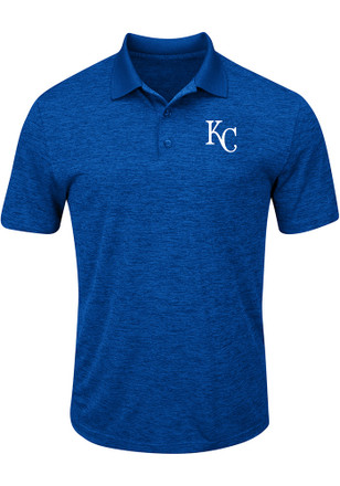 Majestic KC Royals Mens Blue Hit First Short Sleeve Polo Shirt