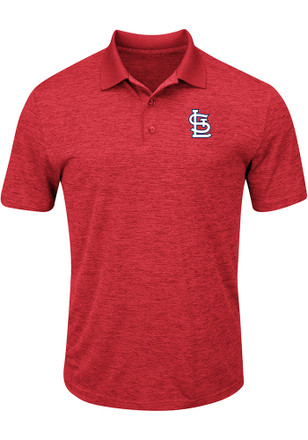 Majestic STL Cardinals Mens Red Hit First Short Sleeve Polo Shirt