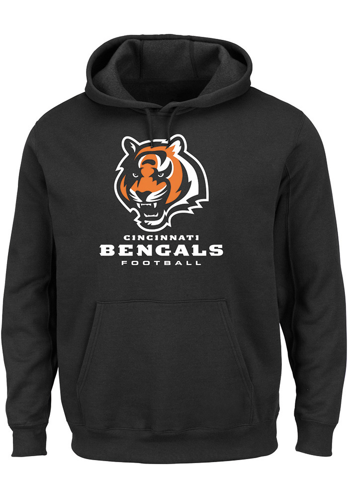 Majestic Cincinnati Bengals Mens Black Critical Victory III Long Sleeve Hoodie, Black, 80% COTTON / 20% POLYESTER, Size L
