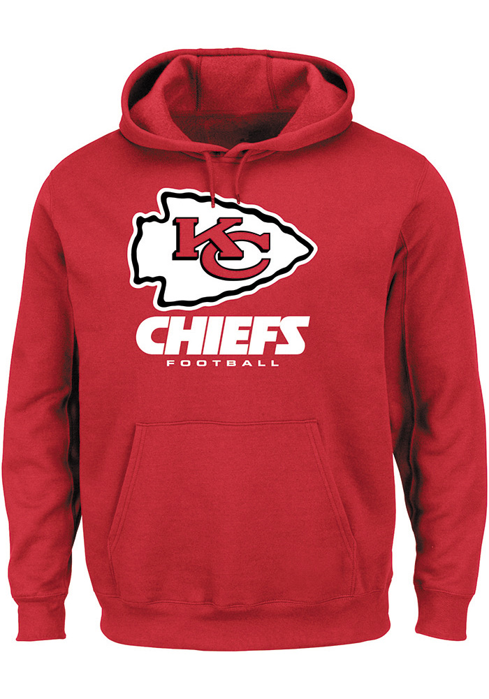 Majestic Kansas City Chiefs Mens Red Critical Victory III Long Sleeve Hoodie - Image 1
