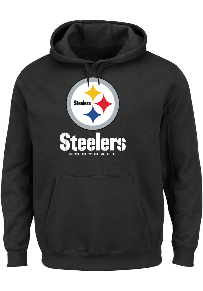Majestic Pittsburgh Steelers Mens Black Critical Victory III Long Sleeve Hoodie, Black, 80% COTTON / 20% POLYESTER, Size L
