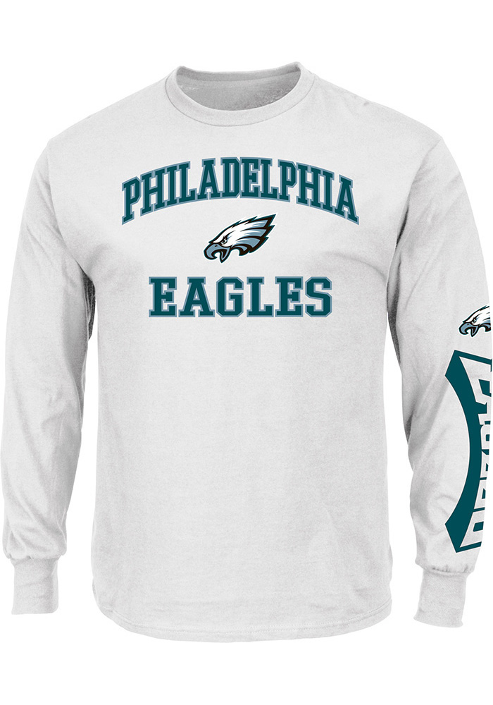 Majestic Philadelphia Eagles White Heart & Soul Long Sleeve T Shirt - Image 1