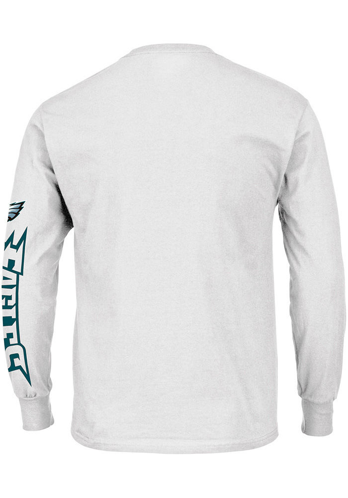 Majestic Philadelphia Eagles White Heart & Soul Long Sleeve T Shirt - Image 2
