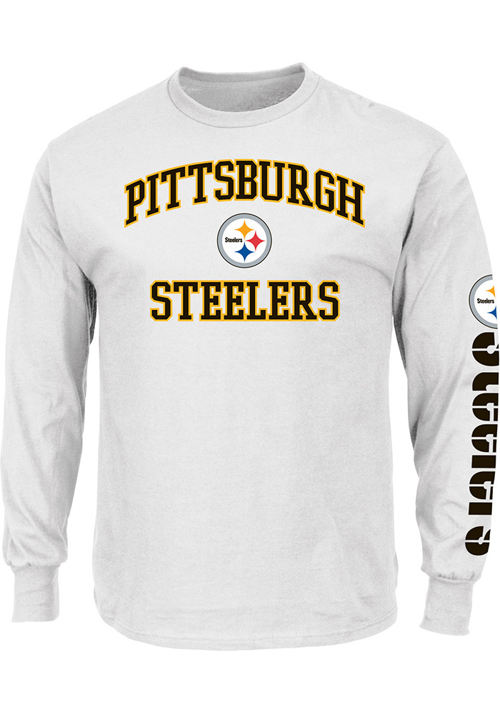 Majestic Pittsburgh Steelers Mens White Heart Soul Long