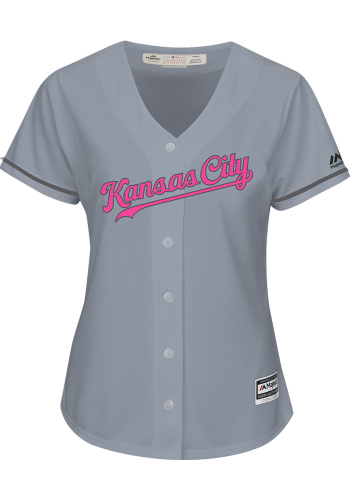 Kansas City Royals Womens Majestic Replica Mother's Day Jersey - Grey - Image 1