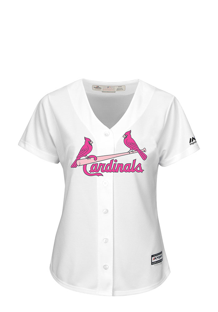 St Louis Cardinals Womens Majestic Replica Mother's Day Jersey - White - Image 1