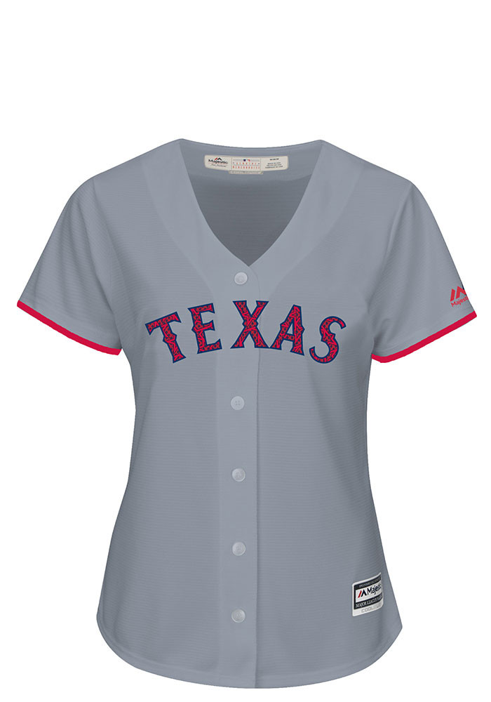 Texas Rangers Womens Majestic Replica Stars and Stripes Jersey - Grey - Image 1
