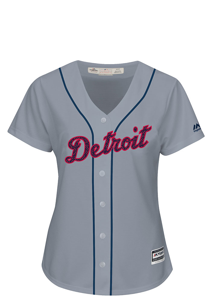Detroit Tigers Womens Majestic Replica Stars and Stripes Jersey - Grey - Image 1