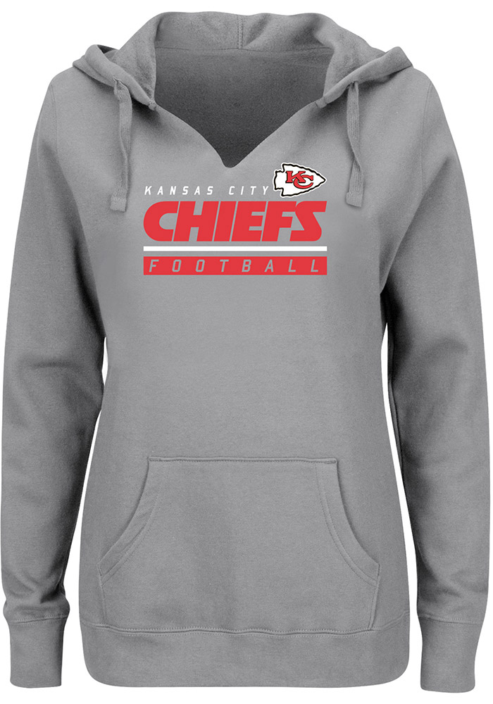Majestic Kansas City Chiefs Womens Grey Self Determination Hooded Sweatshirt, Grey, 80% COTTON / 20% POLYESTER, Size M