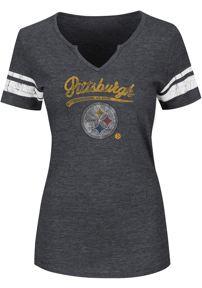 Pittsburgh Steelers Womens Grey Game Tradition V-Neck T-Shirt - Image 1