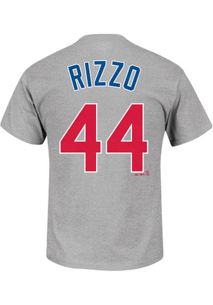 Anthony Rizzo Chicago Cubs Mens Grey Name and Number Player Tee