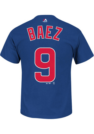 Javier Baez Chicago Cubs Mens Blue Name and Number Player Tee