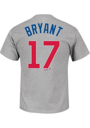 Kris Bryant Chicago Cubs Mens Grey Name and Number Player Tee