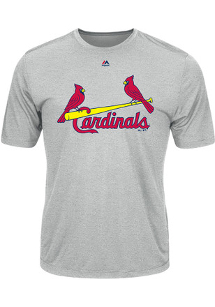 Majestic St Louis Cardinals Mens Grey Wordmark Tee