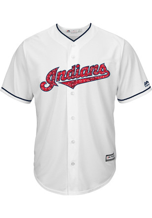Cleveland Indians Mens Majestic Replica 2017 Stars and Stripes Jersey