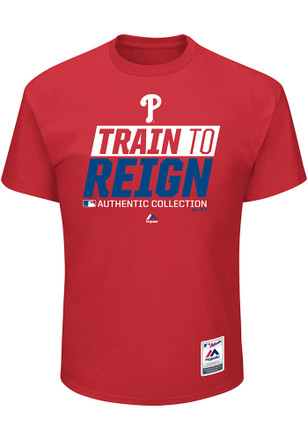Majestic Phillies Mens Red Train to Reign Tee