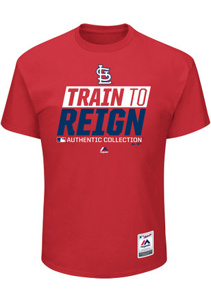 Majestic STL Cardinals Mens Red Train to Reign Tee