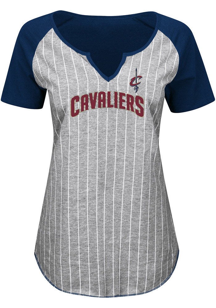 Majestic Cleveland Cavaliers Womens Navy Blue Eyes On The Big Prize V-Neck T-Shirt - Image 1