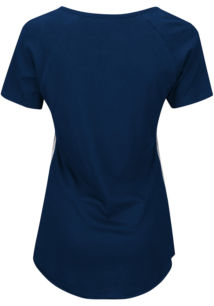 Majestic Cleveland Cavaliers Womens Navy Blue Eyes On The Big Prize V-Neck T-Shirt - Image 2