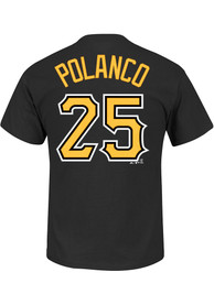 Gregory Polanco Pittsburgh Pirates Black Name and Number Player Tee