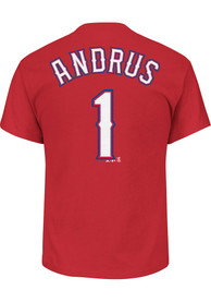 Elvis Andrus Texas Rangers Red Name and Number Player Tee