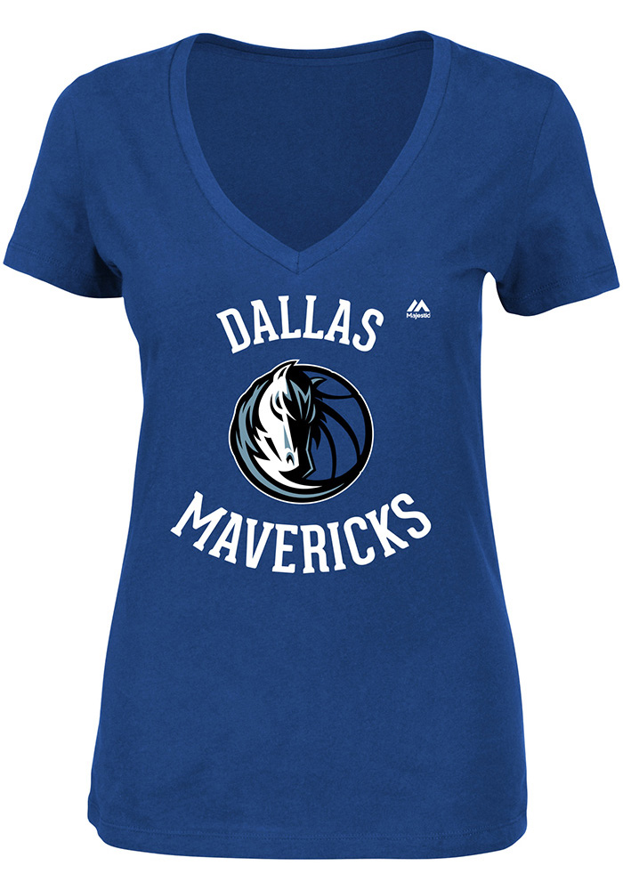 Majestic Dallas Mavericks Womens Blue The Main Thing V-Neck T-Shirt - Image 1