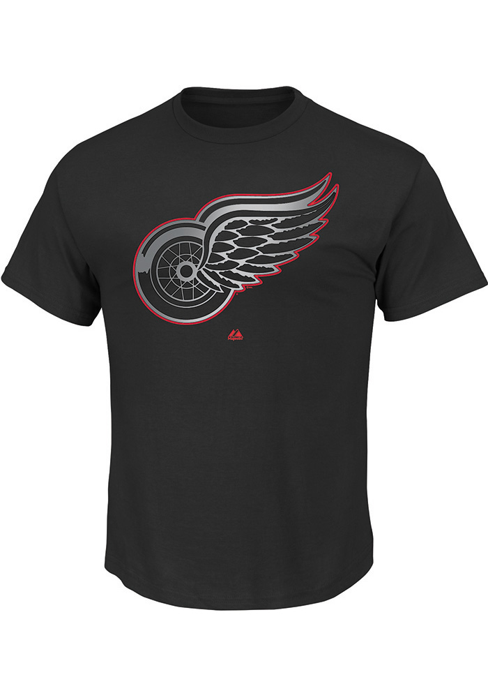 Majestic Detroit Red Wings Black Game Reflex Short Sleeve T Shirt - Image 1