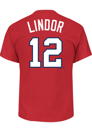 Francisco Lindor Cleveland Indians Mens Red Name and Number Player Tee