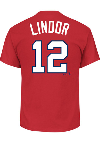 online store a7f87 43334 Francisco Lindor Cleveland Indians Red Name and Number Short Sleeve Player  T Shirt - 17254928