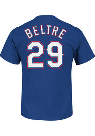 100% authentic 7a82e e02a8 Adrian Beltre Texas Rangers Blue Name and Number Player Tee