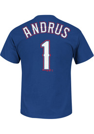 Elvis Andrus Texas Rangers Blue Name and Number Player Tee