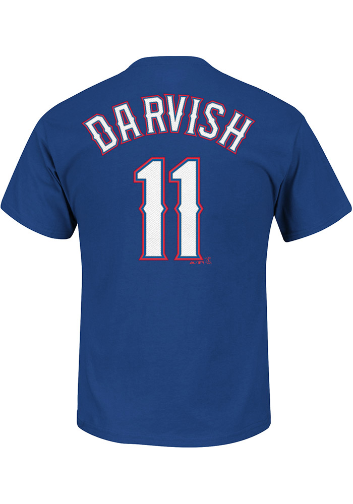 Yu Darvish Texas Rangers Blue Name and Number Short Sleeve Player T Shirt - Image 1
