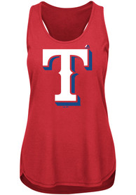 Texas Rangers Womens Majestic Tested Tank Top - Red