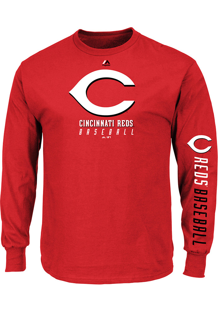 Majestic Cincinnati Reds Red Game Supreme Long Sleeve T Shirt - 17255038 4df2dca59