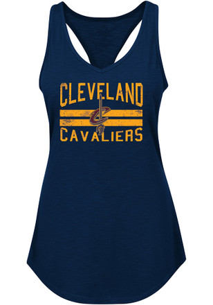 Majestic Cleveland Cavaliers Womens Navy Blue Entice and Delight Tank Top