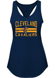 Cleveland Cavaliers Womens Majestic Entice and Delight Tank Top - Navy Blue