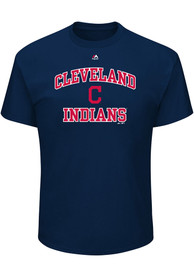 Majestic Cleveland Indians Navy Blue Heart and Soul Tee