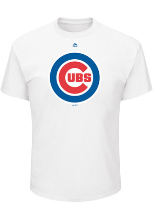 Majestic Chicago Cubs Mens White Oversized Cap Logo Tee