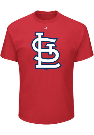 Majestic St Louis Cardinals Mens Red Oversized Cap Logo Tee