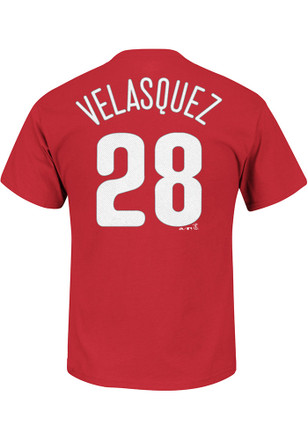 Vince Velasquez Philadelphia Phillies Mens Red Name and Number Player Tee