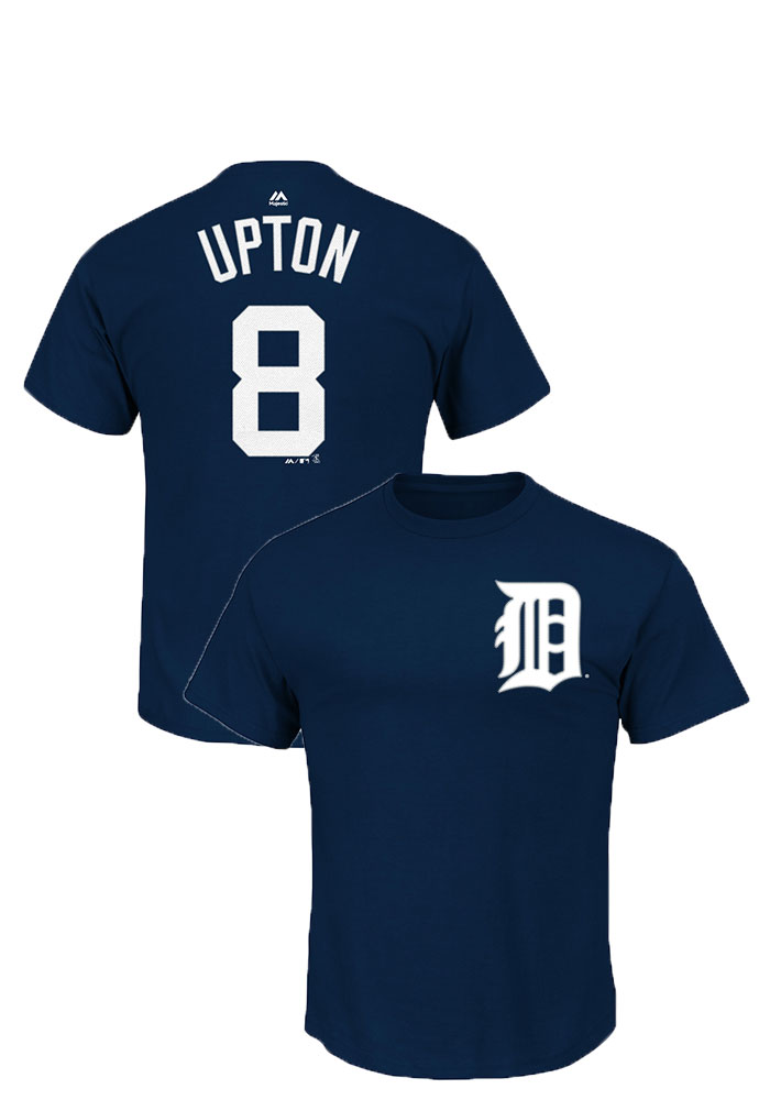 Justin Upton Detroit Tigers Navy Blue Player Short Sleeve Player T Shirt - Image 1