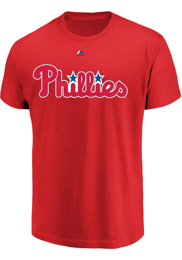 Rhys Hoskins Philadelphia Phillies Red Name and Number Short Sleeve Player T Shirt - Image 2