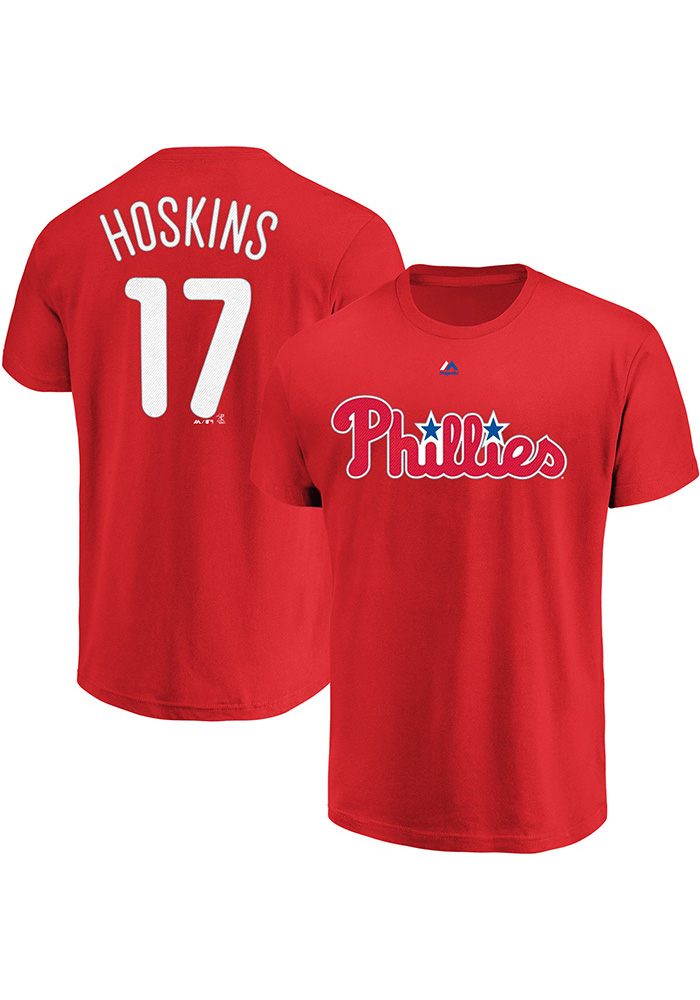 Rhys Hoskins Philadelphia Phillies Red Name and Number Short Sleeve Player T Shirt - Image 3