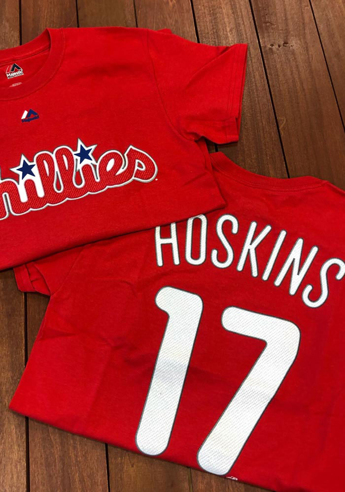 Rhys Hoskins Philadelphia Phillies Red Name and Number Short Sleeve Player T Shirt - Image 5