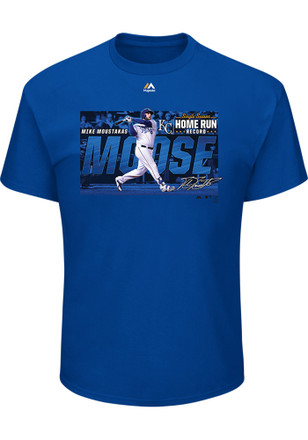 Mike Moustakas # Kansas City Royals Mens Blue Majestic Home Run Record Tee