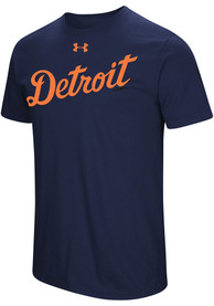 Under Armour Detroit Tigers Navy Blue Passion Team Font Tee